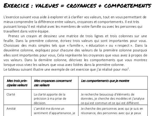 Valeurs = Croyances + Comportements